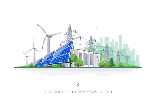 stockillustraties, clipart, cartoons en iconen met hernieuwbare zonne- en wind batterij smart grid energieopslagsysteem met elektrische leidingen - renewable energy