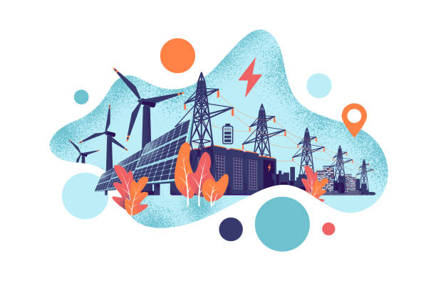 Renewable Solar and Wind Energy Battery Storage Smart Grid System with Power Lines Renewable energy smart power grid system concept. Modern grain style vector illustration solar panels, wind turbines, battery storage, high voltage electricity power transmission grid and clean city. solar panels illustrations stock illustrations