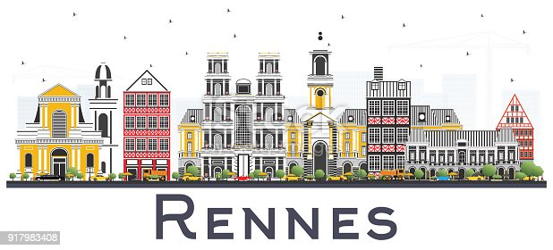 istock Rennes France City Skyline with Color Buildings Isolated on White. 917983408
