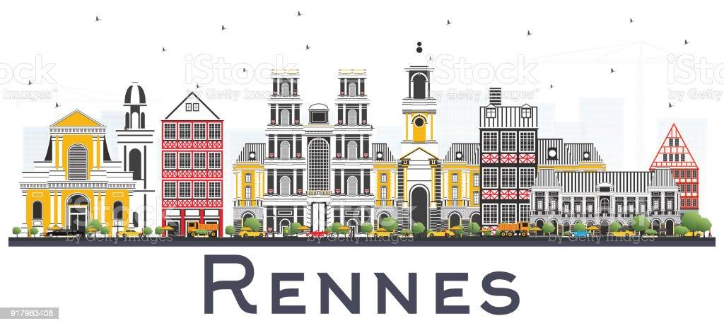 Toits de la ville de Rennes France avec bâtiments couleur Isolated on White. - Illustration vectorielle