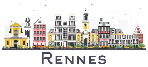 illustrations, cliparts, dessins animés et icônes de toits de la ville de rennes france avec bâtiments couleur isolated on white. - bretagne