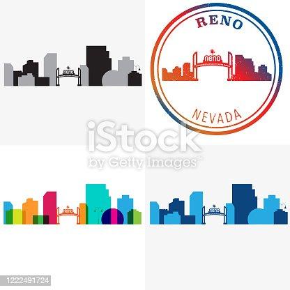 istock Reno Nevada Cityscape and Travel Stamp 1222491724