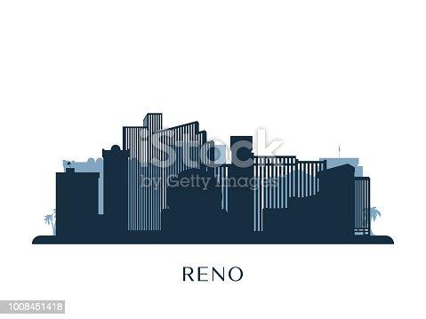 Reno skyline, monochrome silhouette. Vector illustration.