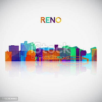 istock Reno skyline silhouette in colorful geometric style. Symbol for your design. Vector illustration. 1152806863
