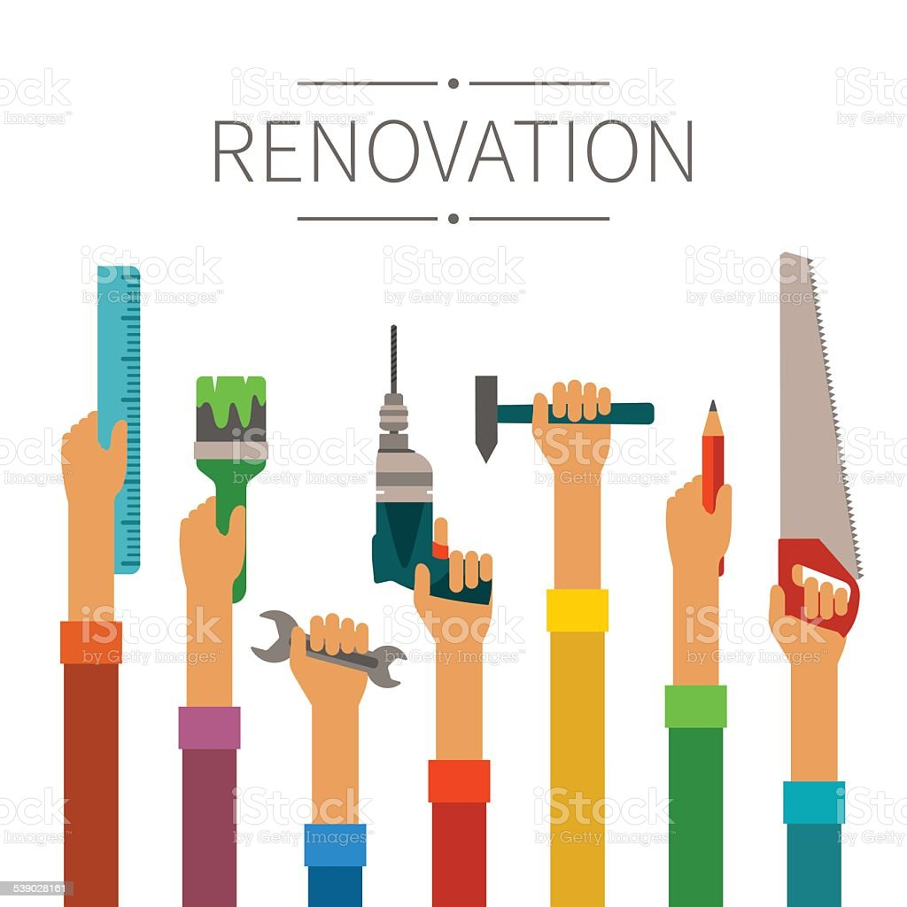 Renovation and construction vector concept in modern flat style vector art illustration