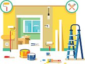 Renovation apartment. Room in home, new interior. Flat vector illustration