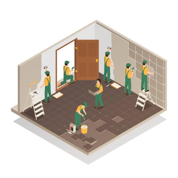 bildbanksillustrationer, clip art samt tecknat material och ikoner med renovering hem reparation isometrisk sammansättning - construction workwear floor