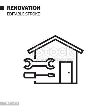 istock Renovation Line Icon, Outline Vector Symbol Illustration. Pixel Perfect, Editable Stroke. 1199314415