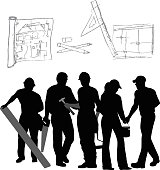 Renovation Tools And Trades Vector Silhouette