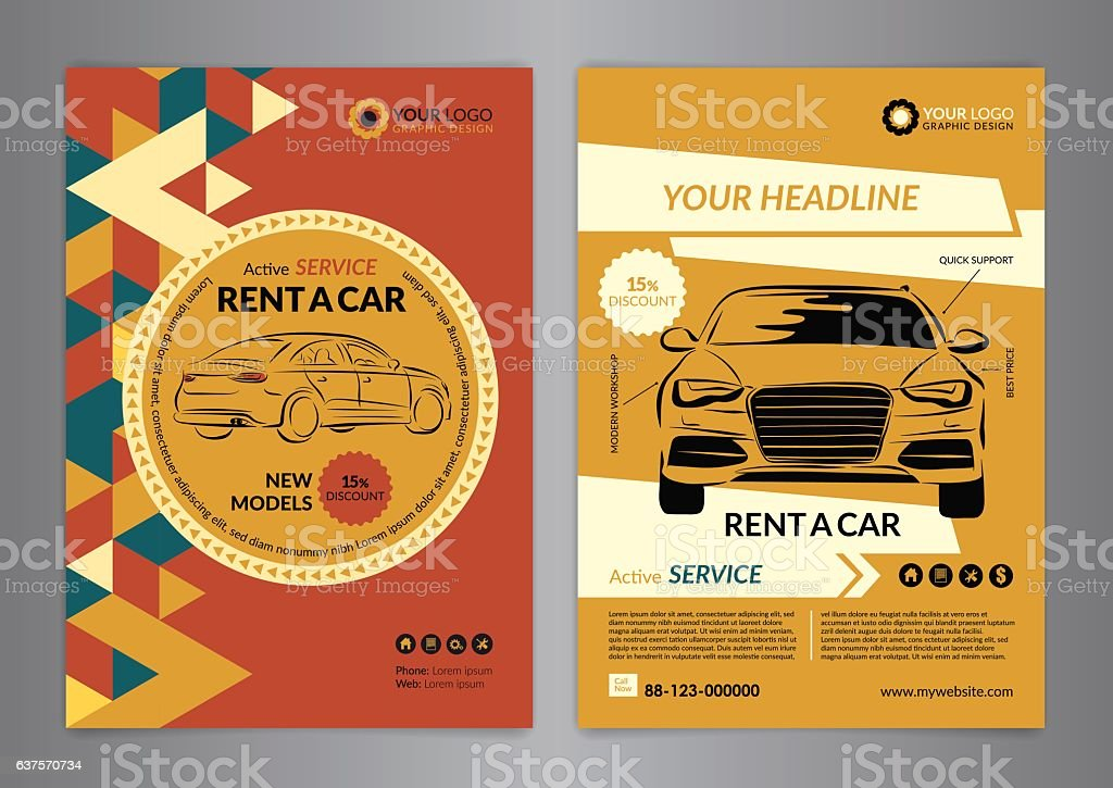 Rent A Car Business Flyer Template Auto Service Brochure Templates