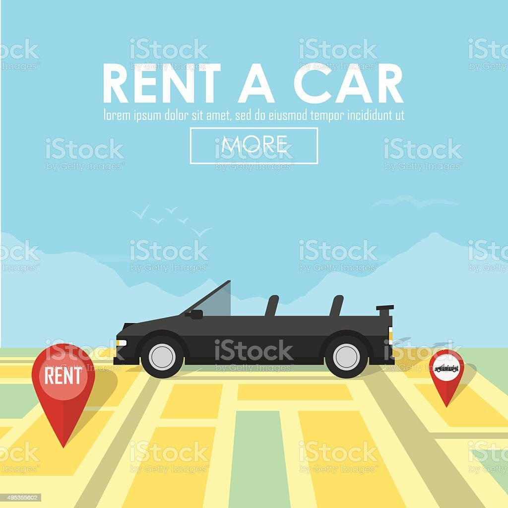 Rent a car pin pointer on map location vector art illustration