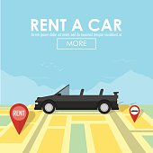 Rent a car pin pointer on map location