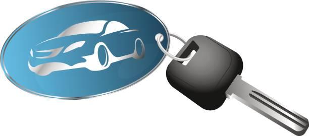 Rent a car symbol Rent a car symbol for business. Key and key chain. car key stock illustrations