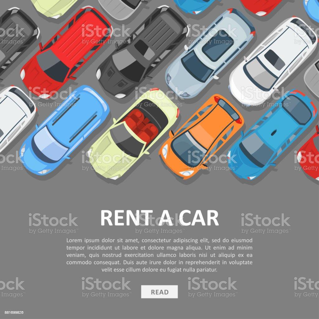 Mieten Sie eine Auto-Vorlage – Vektorgrafik