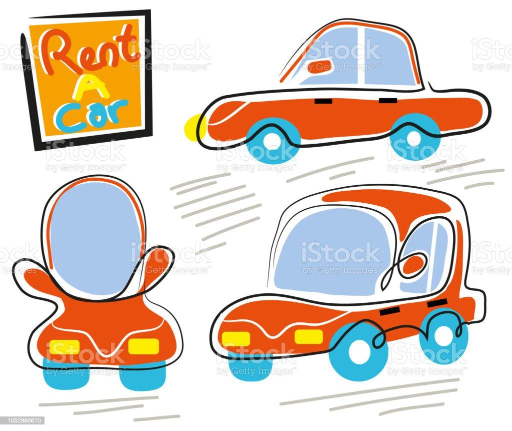 Bir araba kiralayın. vektör sanat illüstrasyonu