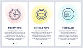 Set of doodle vector illustrations of renting a car in three steps.