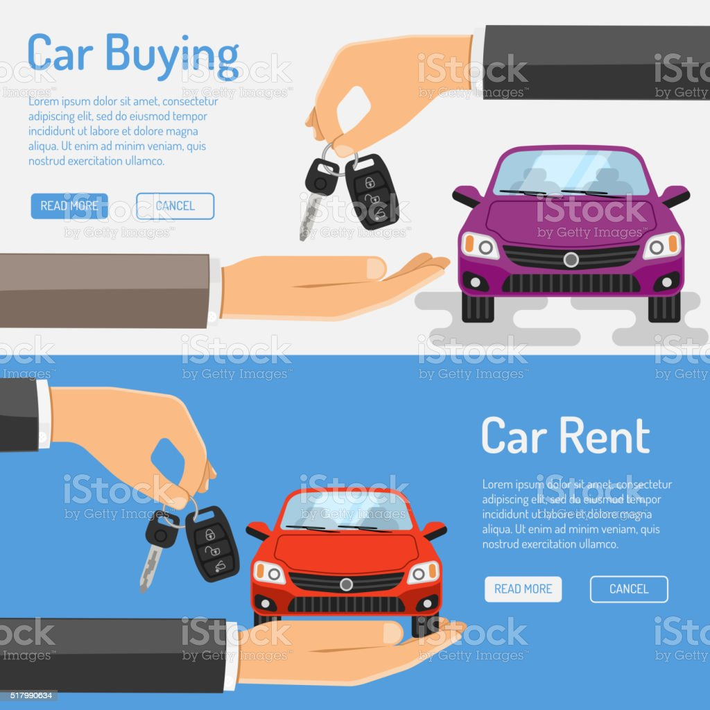 Rent amd Buying Car Banner vector art illustration