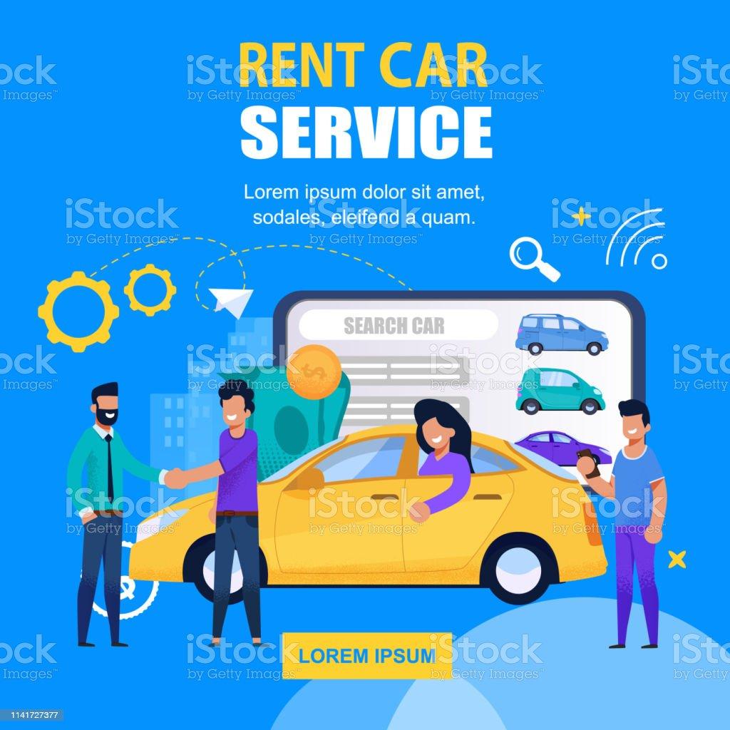 Rent Car Service Square Banner. Mobile App Solution for Transport...