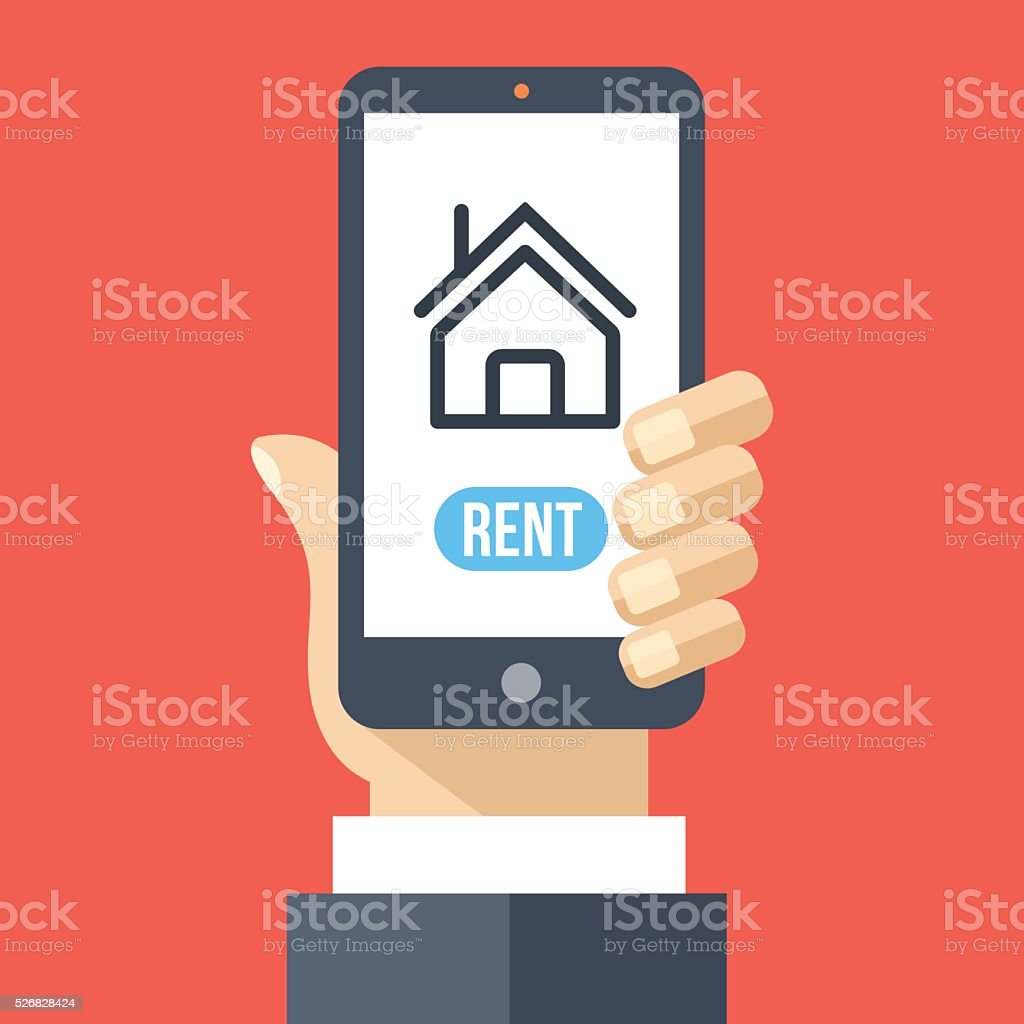 Rent house app on smartphone screen. Renting service. Vector illustration vector art illustration