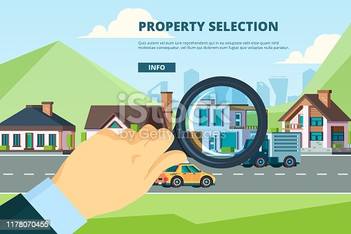 Rent house. Searching new modern townhouse residential sale mortage property company vector concept. Illustration real estate building , townhouse housing