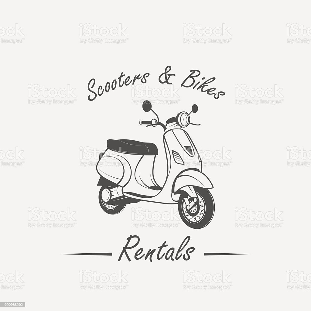 Rent, sale, repair - bicycles, mopeds and scooters vector art illustration