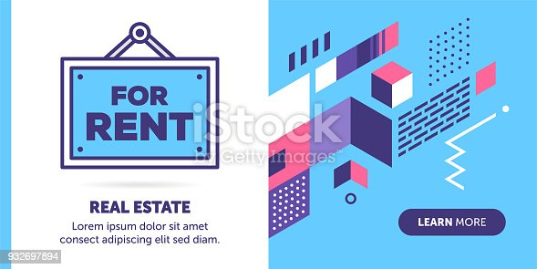 Leasing vector banner illustration also contains an icon for the topic.