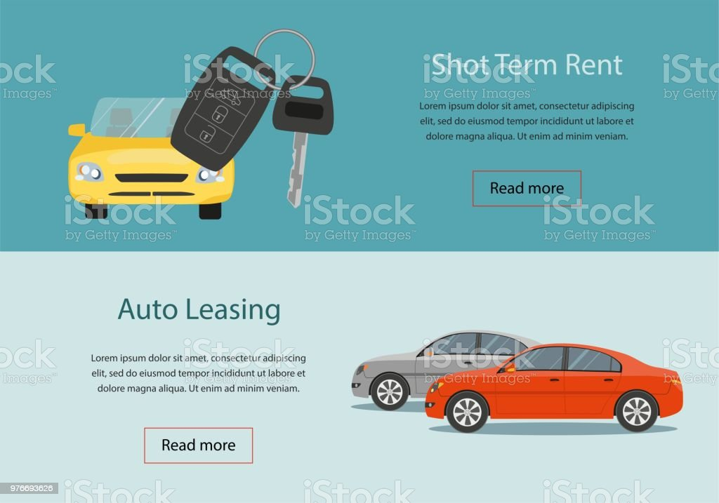 Rental Car And Auto Leasing Banners Rental Concept Stock