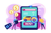 Transport renting website, automobile buying. Man searching used auto on Internet. Rental car service, budget car rental, online car booking concept. Bright vibrant violet vector isolated illustration