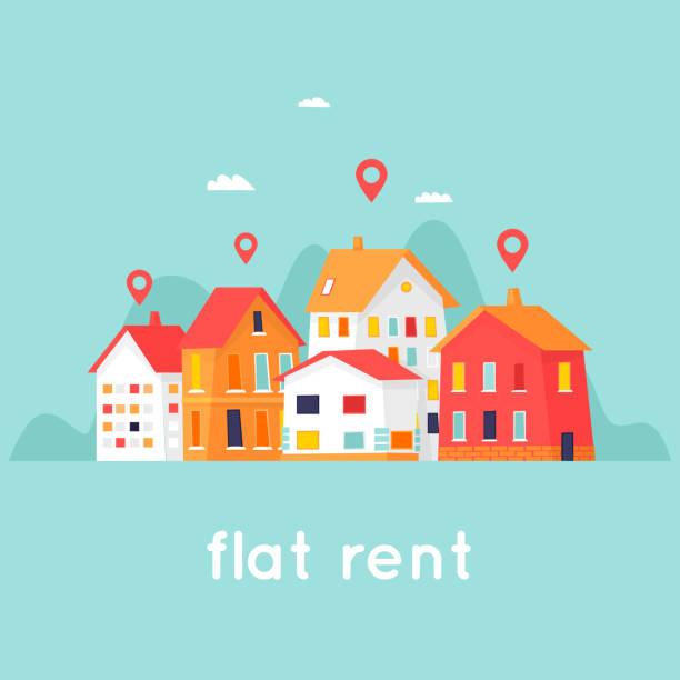 Vermietung von Immobilien. Stadtbild. Flaches Design-Vektor-Illustration. – Vektorgrafik