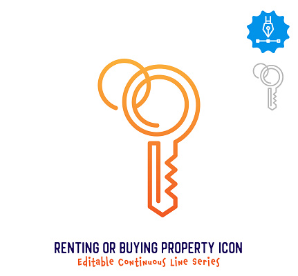 Renting & Buying Property Continuous Line Editable Icon