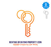 Renting or buying property vector icon illustration for logo, emblem or symbol use. Part of continuous one line minimalistic drawing series. Design elements with editable gradient stroke.