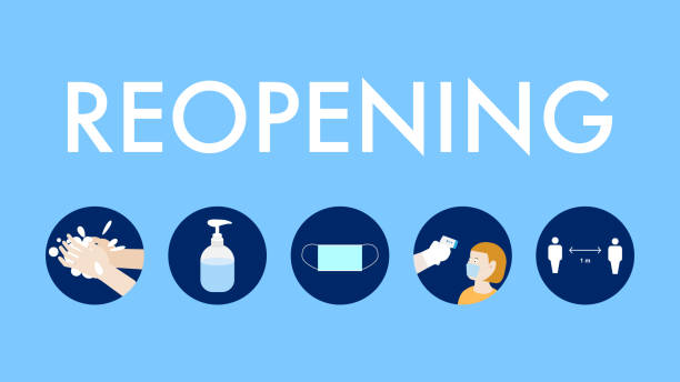 illustrazioni stock, clip art, cartoni animati e icone di tendenza di reopening banner after lockdpwn the country for coronavirus outbreak - new normal