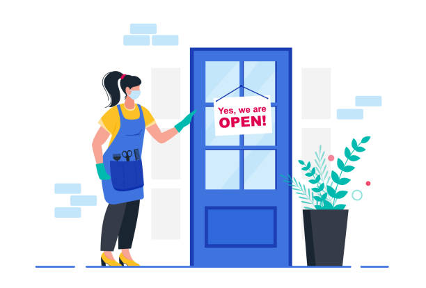 ilustrações de stock, clip art, desenhos animados e ícones de reopening of beauty salon. reopen economy after coronavirus. sign we're open again. - covid hair