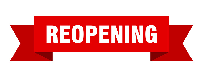 reopening ribbon. reopening isolated band sign. reopening banner