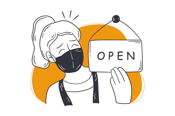 wiedereröffnung, shop, small business konzept - friseur lockdown stock-grafiken, -clipart, -cartoons und -symbole