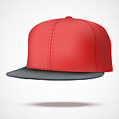 Layout of Male color rap cap. A template simple example. Editable Vector Illustration isolated on white background.