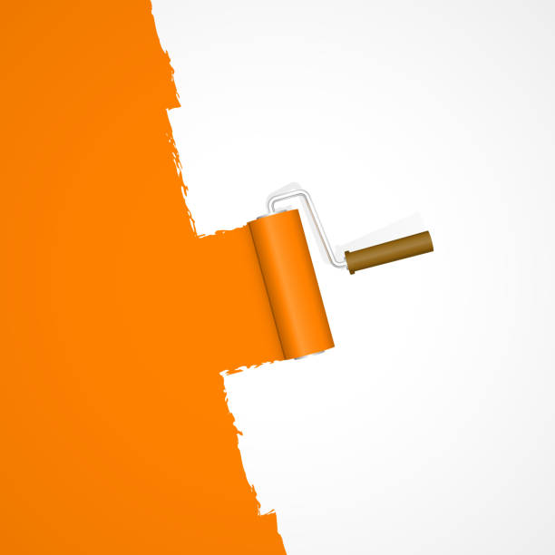 repainting with paint roller repainting with paint roller color orange on white background paint roller stock illustrations