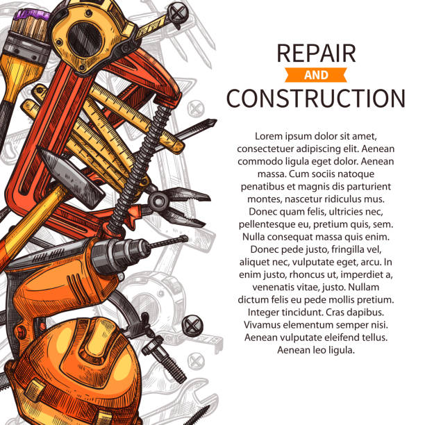 repair and construction poster of work tools - carpenter stock illustrations, clip art, cartoons, & icons