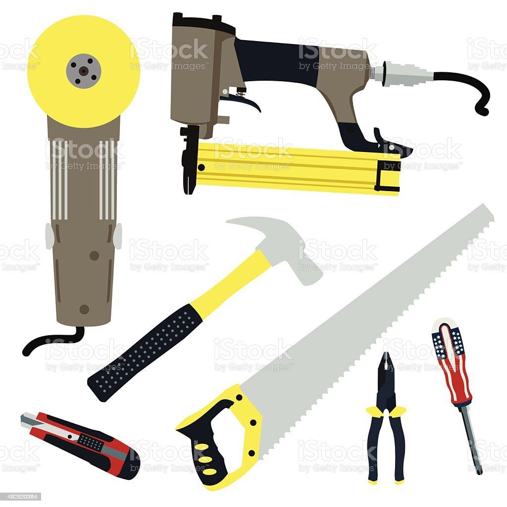 repair and construction tools vector set vector art illustration