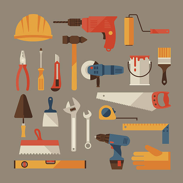 repair and construction working tools icon set. - carpenter stock illustrations, clip art, cartoons, & icons