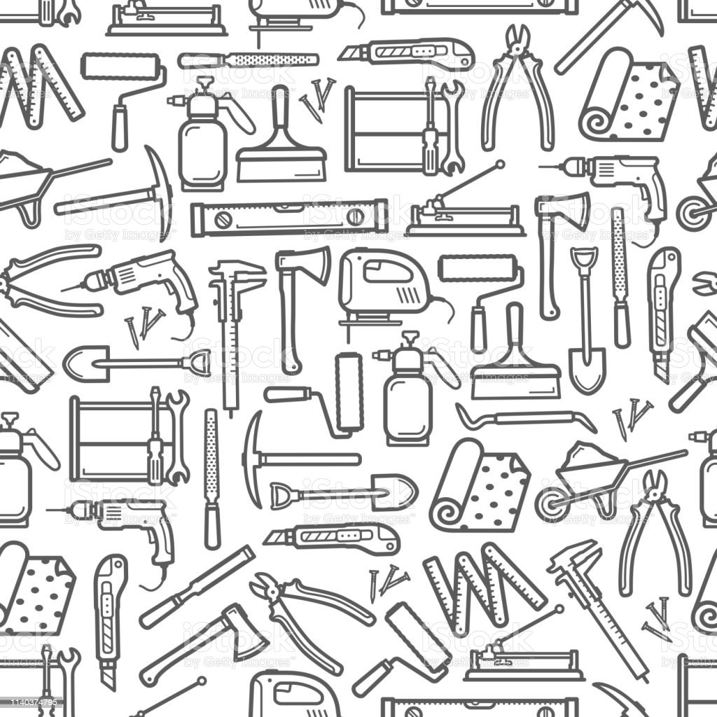 Repair And Diy Construction Work Tools Pattern Stock Illustration Download Image Now Istock