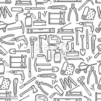 Construction DIY tools seamless pattern. Vector thin line tools icons background of handyman carpentry hammer, woodwork plane grinder or painting brush and drill with saw and wallpapers