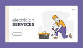 istock Repair and Maintenance Service Landing Page Template. Electrician Male Character Repairing Socket. Master in Hardhat 1280973893