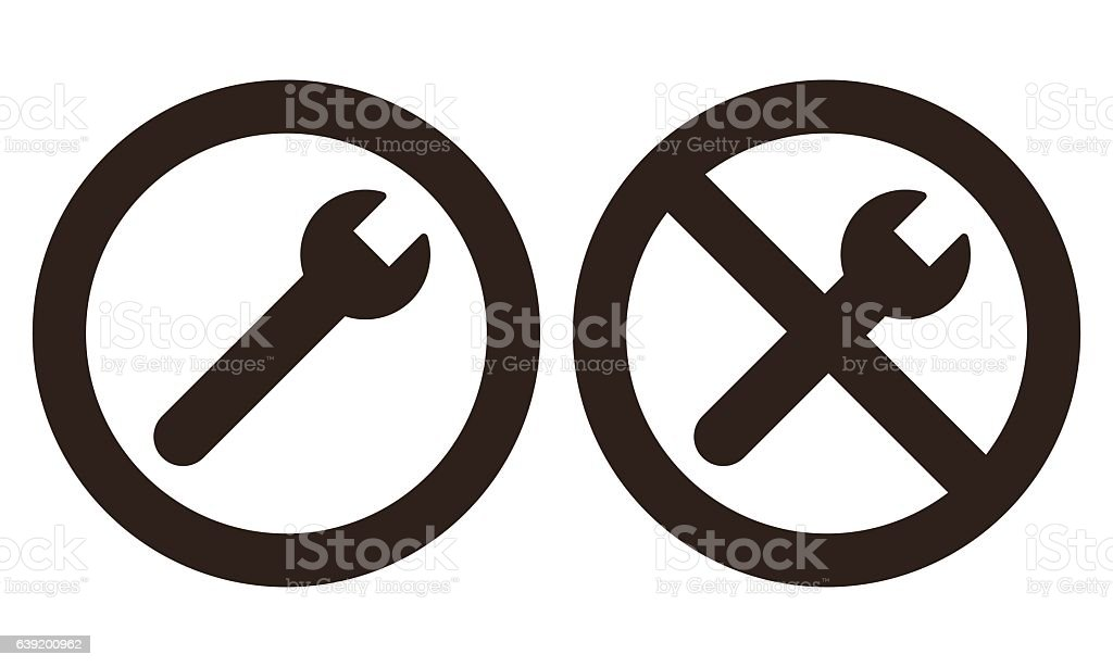 Repair and no repair symbol vector art illustration
