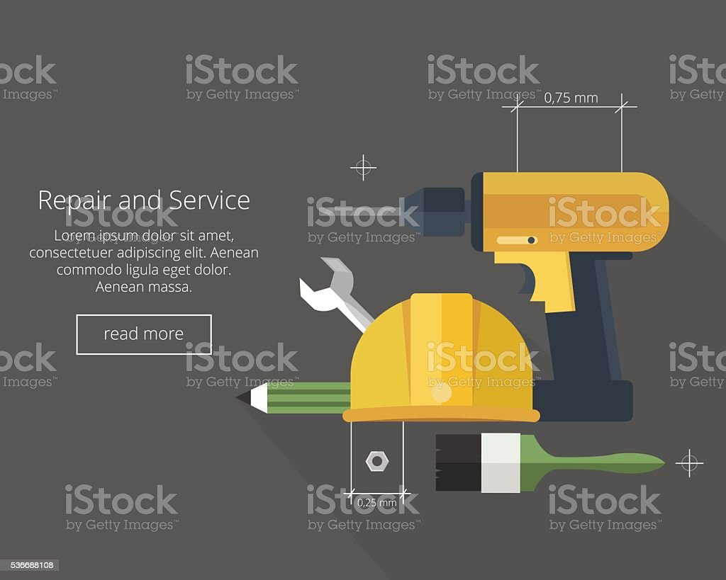 Repair and Service.Home and Mechanic renovation concept. vector art illustration