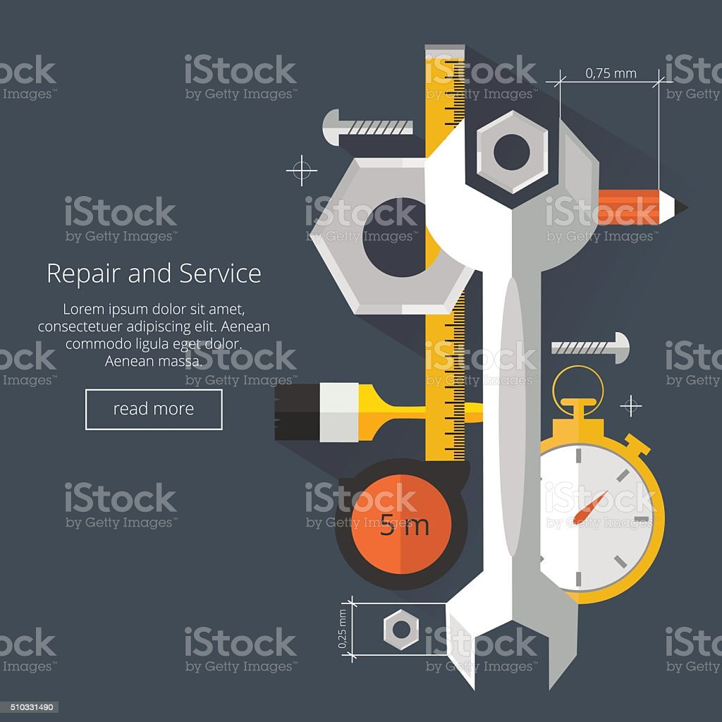 Repair and Service.Home and Mechanic renovation concept.Flat illustration vector art illustration