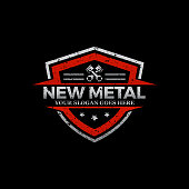 Repair Car logo image, rustic metal repair logo shield