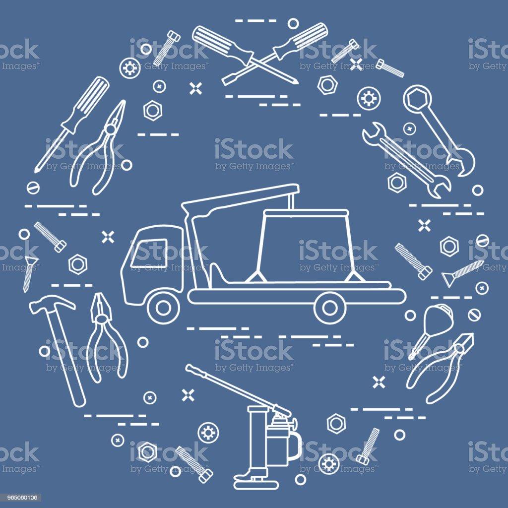 Repair cars: tow truck, wrenches, screws, key, pliers, jack, hammer, screwdriver. repair cars tow truck wrenches screws key pliers jack hammer screwdriver - stockowe grafiki wektorowe i więcej obrazów awaria samochodu royalty-free