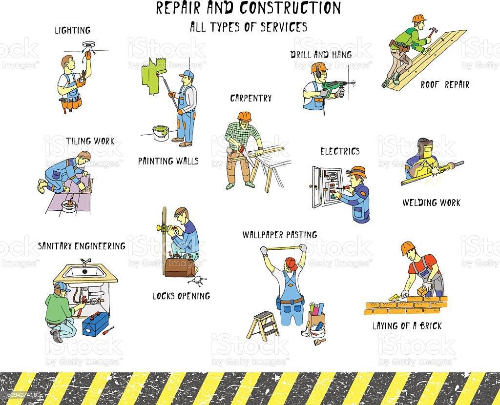 リペアー& 構造です。すべてのタイプのサービスをご利用いただけます。 ベクターアートイラスト