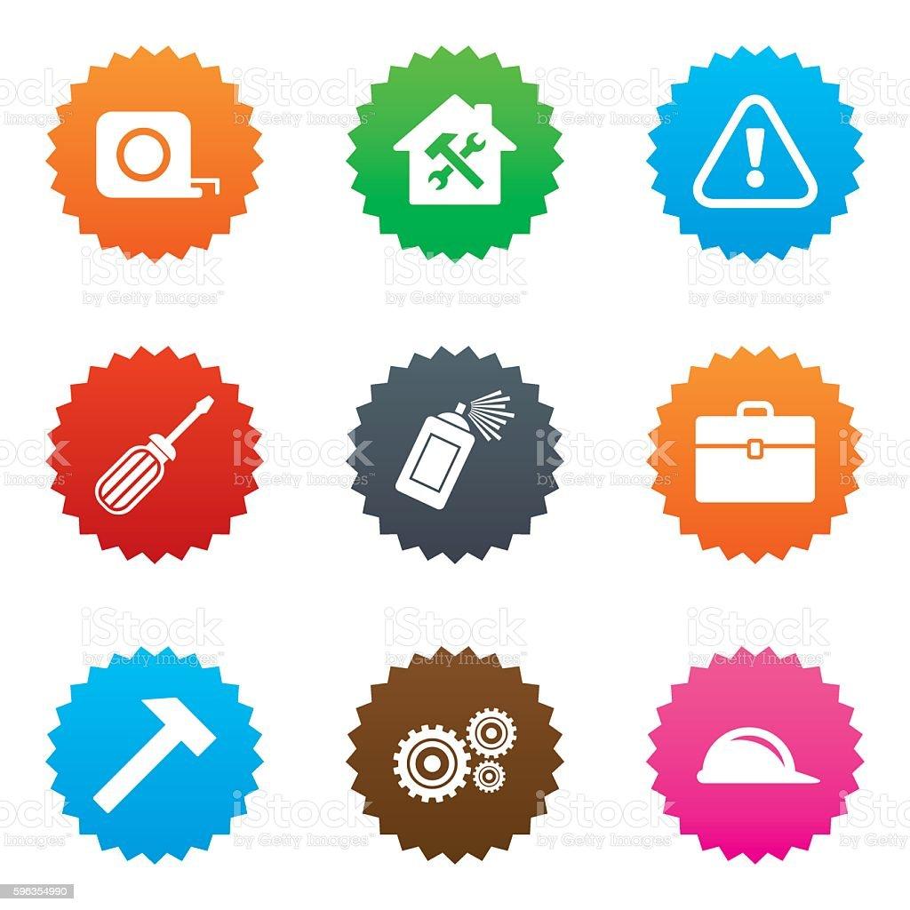 Repair, construction icons. Helmet, screwdriver. royalty-free repair construction icons helmet screwdriver stock vector art & more images of aerosol can